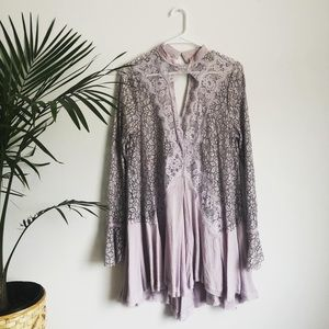 Free People Lilac Lace Cut Out Flowy Shift Dress